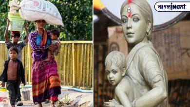 Photo of শ্রমিক মায়ের উমা রূপ, বেহালার বড়িশায় দেবী এবার 'পরিযায়ী'
