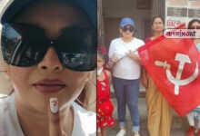 Photo of নখে কাস্তে-হাতুড়ি এঁকে মধ্যমা প্রদর্শন! ব্রিগেডে যাওয়ার পথেই 'বিতর্কিত' পোস্ট শ্রীলেখার
