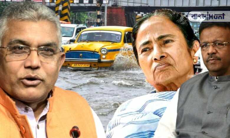 dilip ghosh criticized Mamata Banerjee and Firhad Hakim over the floods in Kolkata