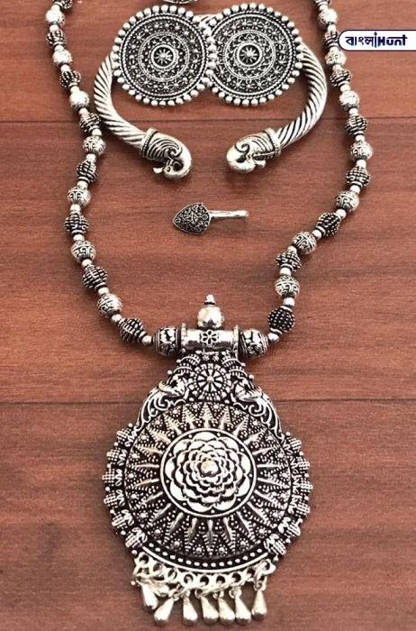 LWPJ100CR1020601 Silver Antique Alloy Necklace Set Bangla Hunt Bengali News