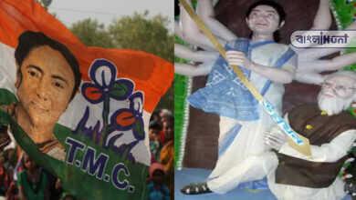 """Photo of দেবী দুর্গার রুপ নিয়ে 'অসুর মোদী"""" কে বধ করছেন মমতা! তৃণমূলের তৈরি মূর্তিতে বিতর্ক"""
